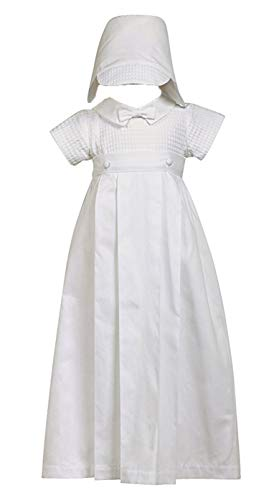 100% Cotton White Weaved Romper with Detachable Gown - Size L (12-18 Month)