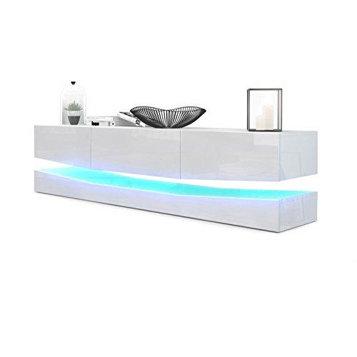 Mesa Baja para TV City, Cuerpo en Blanco de Alto Brillo/Frentes en Blanco de Alto Brillo con iluminación LED