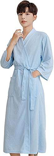 Pijama Bata de vestidor unisex, albornoz de tejido de poliéster ligero con cinturón de bolsillo con cuello en V pareja kimono Traje de encaje (Color : Men Blue B, Size : L)