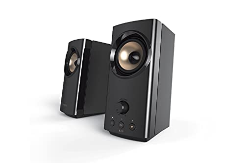 Creative T60 2.0 Compact Hi-Fi Desktop Speakers with Clear Dialog and Surround by Sound Blaster, USB-C Audio, Mic and Headset Ports, Bluetooth 5.0, Up to 60W Peak Power, for Computers and Laptops