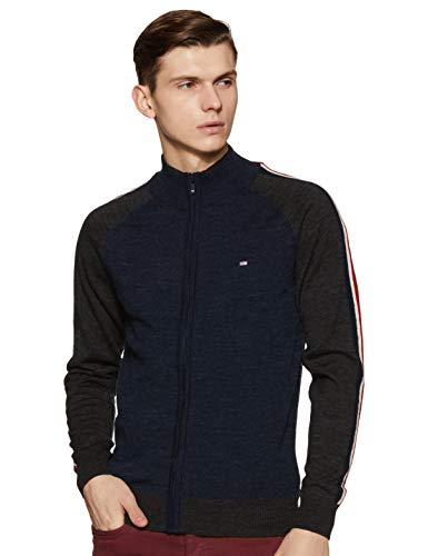 Arrow Sports Men's Wool Sweater (ASYSW4217_Navy_L FS)