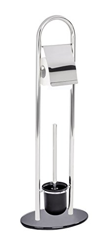 WENKO Stand WC-Garnitur Atlanta Edelstahl - WC-Bürstenhalter, Edelstahl rostfrei, 28 x 78.5 x 20.5 cm, Glänzend