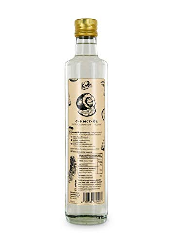 KoRo - C-8 MCT Oil 500 ml - 100 % caprylic Acid from Coconut Oil - Perfect Tasteless Energy Supplier in Glass Bottle