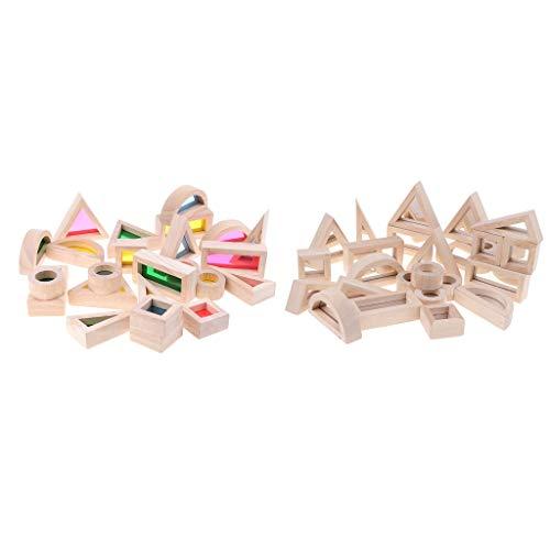 Homyl 2 Set Regenbogen Holzbausteine Holzklötze Bauklötze Montessori Spielzeug für Kinder