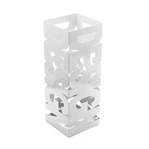 Versa Design Paragüero para la Entrada, Habitación o Hall, Porta paraguas moderno, Medidas (Al x L x An) 52 x 18 x 18 cm, Metal, Color Blanco