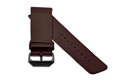 slow - Dunkelbraunes Lederband mit schwarzem Verschluss - 20mm Breite