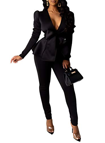 Salimdy Sexy 2 Piece Outfits for Women Long Sleeve Ruffle Hem Deep V Tops Pants Elegant Business Suiting Sets Black XL