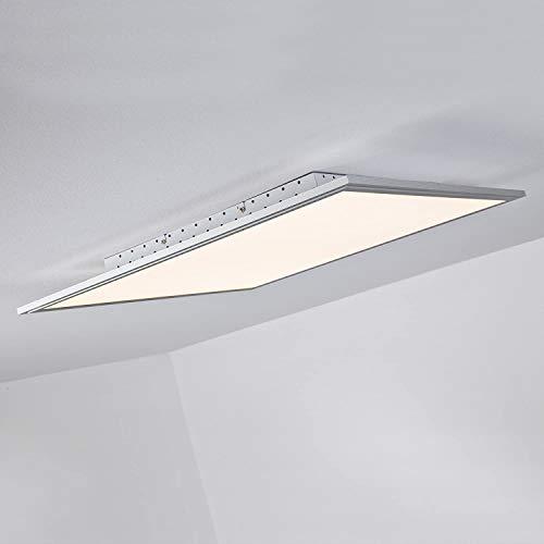 LED Panel Deckenleuchte, dimmbar per Fernbedienung, 60x60cm, 42 Watt, 3310 Lumen, 2700-6500 Kelvin aus Metall/Kunststoff in alu/weiß