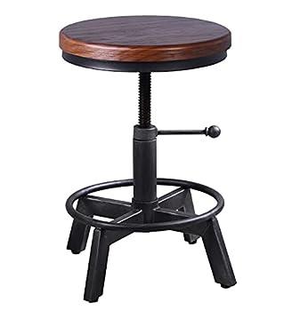 Industrial Swivel Bar Stool-Farmhouse Stool-Metal Round Wood Bar Stool-Counter Height Kitchen Dining Stools-Vintage Adjustable Stool-Rustic Bar Stool-15-21 Inch