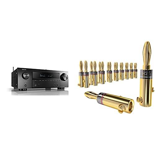 Denon AVR-X1600H 7.2-Kanal AV-Receiver, HiFi Verstärker, 6 HDMI Eingänge, Bluetooth und WLAN & KabelDirekt - Bananenstecker - 10 Paare - (Steckverbinder für Lautsprecherkabel bis 6mm²)