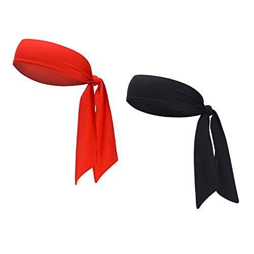 Sports Headband - Head Tie Tennis Tie Hairband - Sweatbands Headbands Wristbands Head Wrap - Ideal for Working Out,Tennis (2pcs-Black+red)