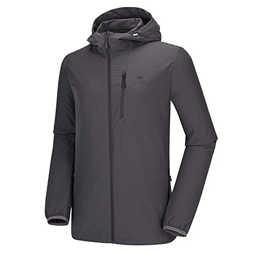 CAMEL Men's Running Jackets Lightweight Upf 50+ Sun Protective Hoodie Quick Dry Packable Sunblock Golf Windbreaker