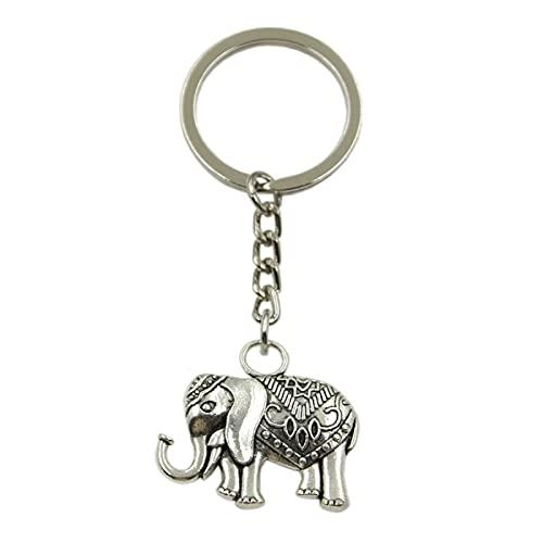 VIOYO Colgante del Elefante del Color de Plata de la Cadena del Tenedor del Metal de DIY del Llavero del Coche para el Regalo