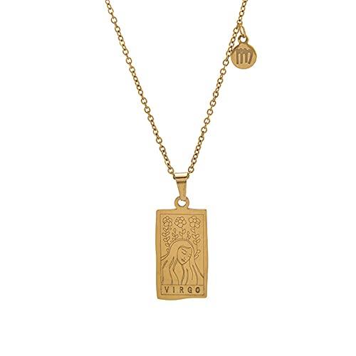 12 Collar Constelación, Acero Inoxidable Collar, Astrología Medalla Ovalada de Horóscopo para Hombre y Mujer Collar, Hombre Cumpleaños Mujer lucky Regalo Collar, Virgo