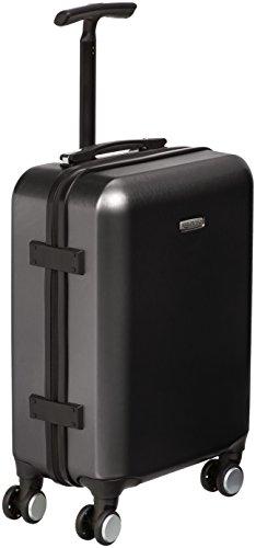 Amazon Basics - Trolley a 4 ruote multidirezionali, metallizzato, bagaglio a mano, 55 cm, Nero