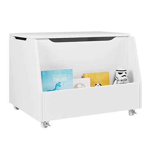 HOMECHO Spielzeugkiste auf Rollen Sitzbank mit Stauraum und Bücherregal für Kinder Truhenbank mit Deckel für Bücher Spielzeug Holz weiß