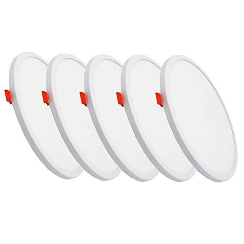 FactorLED Pack x5 Placa LED Circular 20W, Downlight LED Redondo, lampara de techo empotrable, con diámetro ajustable de 50mm a 210mm, Iluminación de interior, drivers incluidos (Blanco Frío)