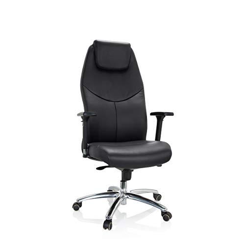 hjh OFFICE 601009 Profi Chefsessel Ferrara Leder Schwarz Drehstuhl ergonomisch, hohe Rückenlehne, bis 220kg belastbar