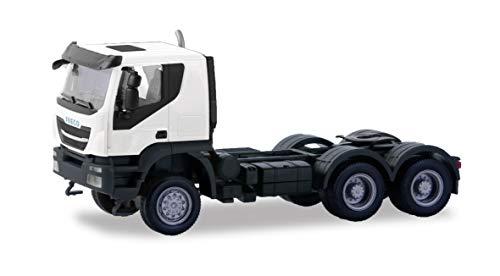 Herpa 310529 Iveco Tracker Trekker, voertuig in mini voor knutselen en verzamelen, wit, zwart