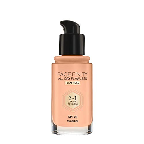 Max Factor Facefinity All Day Flawless 3in1 - Fondotinta Liquido a Lunga Durata, 75 Golden, 30 ml