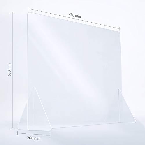 reflecto Spuckwand ohne Durchreiche | 100cm oder 73cm breit | Thekenaufsatz als Nies- und Spuckschutz gegen Tröpfcheninfektionen | eine transparente Kunststoff-Barriere zum Virenschutz (73 x 55 cm)