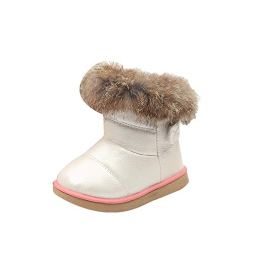 Rengzun Niño Chica Invierno Botas de Nieve Térmico Forro de Cachemir Zapatos Anti-Deslizante Zapatos de Algodón para Niños Blanco