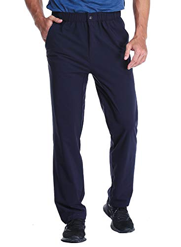 MIER Men's Stretch Hiking Pants Elastic Waist Lightweight Travel Jogger Trousers, Water Resistant, Quick Dry, Navy, M