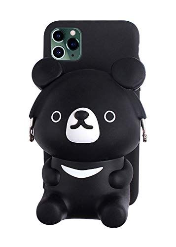 UnnFiko 3D Cartoon Pocket Case for iPhone 7 Plus 8 Plus, Cute Black Bear Purse Stand Holder, Squishy Soft Silicone Protective Phone Case for Girls Women (iPhone 7 Plus / 8 Plus)