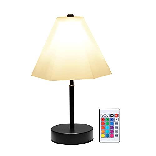 Luz Nocturna de Dormitorio, Lámpara de Mesa con Mando a Distancia, 11 Modos de Luz, Apaga las Luces con Regularidad, de Estilo Vintage y Clásico