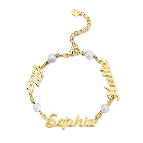 Albertband Pulseras de nombre personalizadas Pulsera de perlas de 3 nombres personalizada Cadena ajustable en plata 925 Regalo de aniversario para la madre Mejores amigos (Gold)