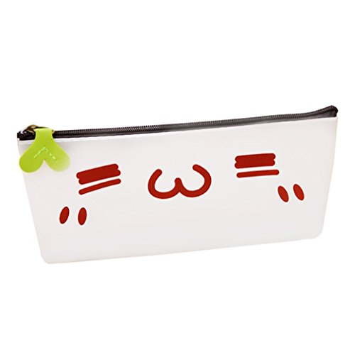 Lovable Silicone Transparant Tas Etui Happy Geestig Dom Leuk Shy Face Mood Style School Office Supply Funny Stationerywhite & red & green