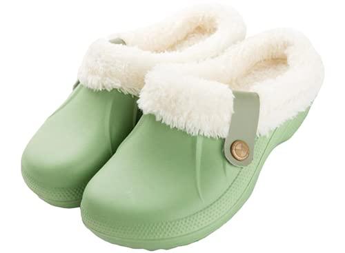 Acfoda Hausschuhe Damen Herren Winter Warm Gefüttert Pantoffeln Clogs Haus rutschfeste Plüsch Schlappen,Grün,Größe 37-38