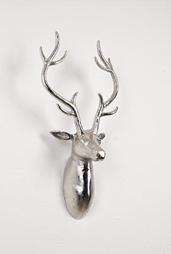 Artra Deko Geweih 'Harry' Silber Hirschkopf Hirschgeweih Hirschkopf Geweih Figur Skulptur Deko
