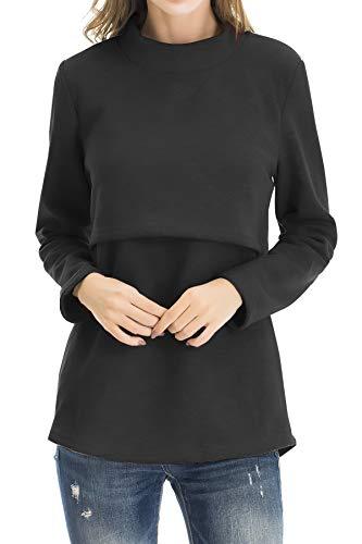 Smallshow Women's Fleece Nursing Tops Shirts Long Sleeve Breastfeeding Clothes Medium Black