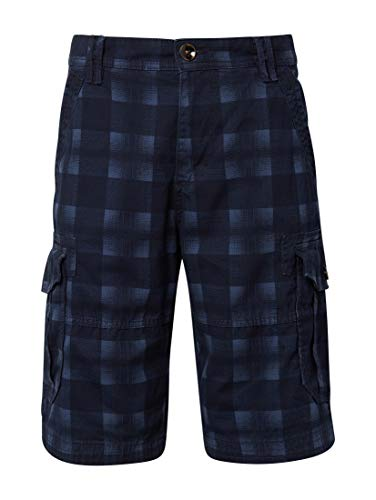 TOM TAILOR Herren Cargo Baumwolle Shorts, Blau (Navy Check Design 17731), 34