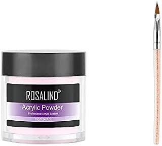 ROSALIND Acrylic Powder Poly Gel For Nail Polish Nail Art Decorations Crystal Manicure Set Kit Professional Nail Accesorios (RPC_102_Pink+Brush)