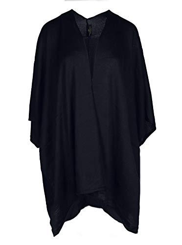Zwillingsherz Poncho-Schal mit Baumwolle - Hochwertiges Cape für Damen - XXL Umhängetuch und Tunika mit Ärmel - Strick-Pullover - Sweatshirt - Stola für Sommer und Winter - Navy