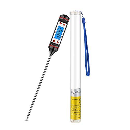 LanFun Digitale Bratenthermometer Fleischthermometer Grillthermometer Küchenthermometer Kochthermometer sofort lesbar mit Langer Sonde, für Braten, Kochen, Grillen/BBQ, Backen, Baby-Ernährung