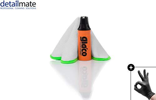 detailmate Glasversiegelung Set: Soft99 Glaco W Jet Strong + Liquid Elements Streak Buster + Nitril-Handschuhe