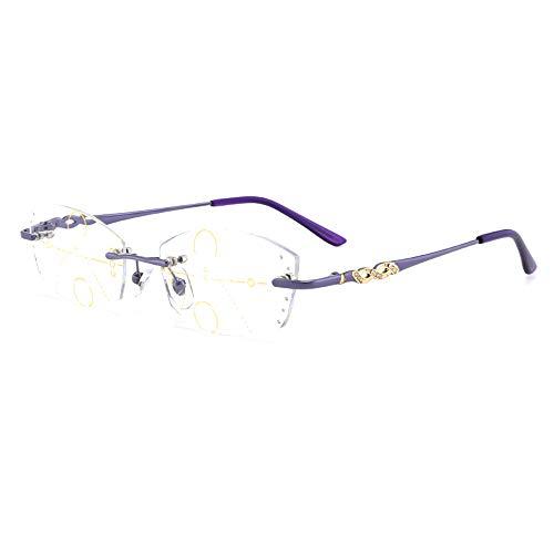 Frameloze Progressieve Multifocale Nadruk Leesbril Vrouwen Legering Glazen Benen Presbyopia Hypermetropie Optische Brillen,+ 2.50
