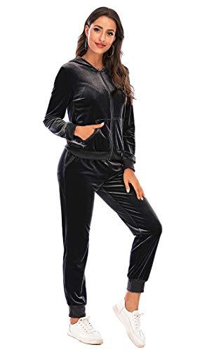 Orshoy Damen Tracksuit Two-Piece Jogging Suit Long Sleeves Zipper Top Fleece-Anzug Hausanzug Jogging-Anzug Trainings-Jacke mit Reißverschluss + Hose +Tunnelzug Schwarz XL