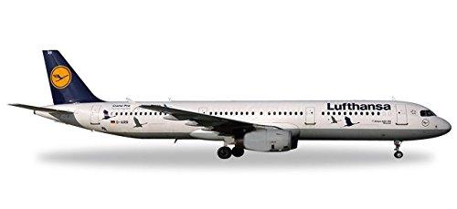 Herpa 558563.0 Lufthansa Airbus A321 25 Jahre Kranichschutz-D-AIRR Wismar, Fahrzeug