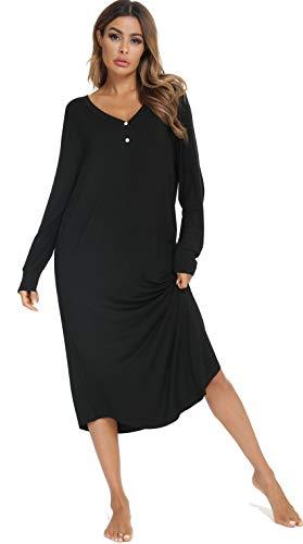 Vlazom Damen Nachthemd Langarm Schlafkleid V-Ausschcnitt mit Knöpfe Weiches Umstandskleid Umstandskleidung für Schwangere Sleepshirt mit Taschen