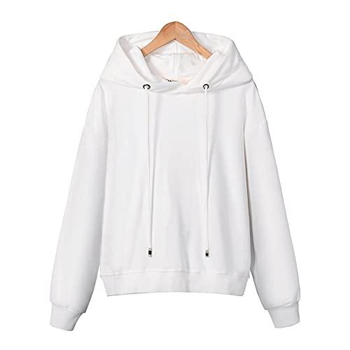 Sudaderas con capucha para mujer Tops Femenina Casual Sudadera Outerwear 2233 (Color : White, Size : Small)