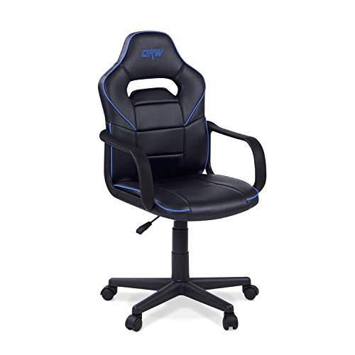 Adec - Silla Gaming, Sillon de Estudio o despacho, Modelo Gamer DRW, Color: Negro - Azul, Medidas: 98-108 x 60 cm de Ancho