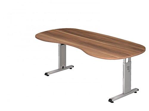 DR-Büro Schreibtisch höhenverstellbar nierenform 200 x 100 cm - Höhe 65-85 cm - Bürotisch mit silberfarbenem Gestell - 7 Farben, Farbe:Zwetschge