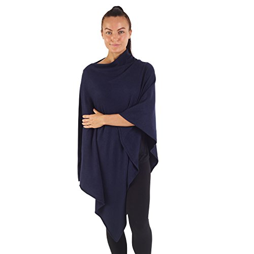City Comfort® Soft Feel Ponchos für Frauen Ganzjährig Asymmetrischer Pullover Cape Blanket Schal Wickel Poncho - Cashmere Feel (tiefe marine)