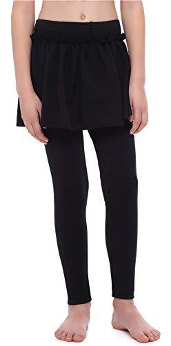 Merry Style Mädchen Lange Leggings aus Baumwolle mit Rock MS10-255 (Schwarz, 140 cm)