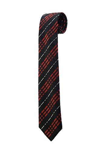 Oh La Belle Cravate Cravate fine slim à rayures noir rouge blanc carreaux DESIGN RTS
