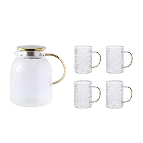 QAX Jarra de cristal con tapa y boquilla, jarra de agua de vidrio con asa, para nevera familiar, hervidor de 1,8 l + 4 tazas